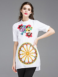 Boutique S Women's Going out / Casual/Daily Chinoiserie Tunic Dress,Solid / Embroidered Crew Neck Mini White Cotton