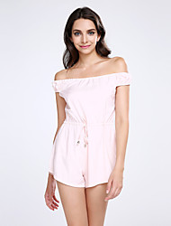 Women's Solid Pink Jumpsuits,Sexy / Vintage Boat Neck Short Sleeve