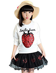 Girl's Cotton Spring/Autumn Paillette Strawberry Long Sleeve Shirt And Lace SKirt Casual/Daily Clothes Two-piece Set