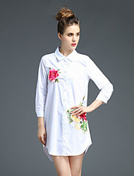 JOJ  Women's Going out Sexy Sheath Dress,Embroidered Shirt Collar Above Knee Long Sleeve White Cotton