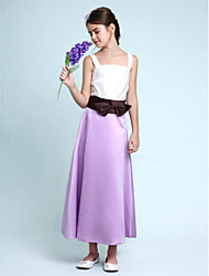 LAN TING BRIDE Ankle Length Satin Junior Bridesmaid Dress A-line Princess Straps Natural with Bow(s) Sash / Ribbon - Rainbow