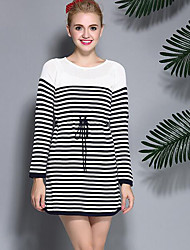Women's Casual/Daily / Work Sexy / Simple / Cute A Line / Black and White / Sweater Dress