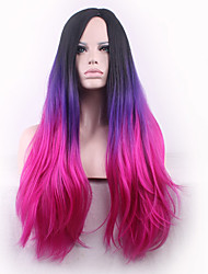 The New Cos Long Curly Wig Black Points in Gradient Purple Hair Wigs 26 Inch
