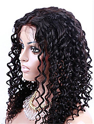 U Part Middle Parting Kinky Tight Curly Brazilian Virgin Hair Full Lace Front Wigs Natural Black Color