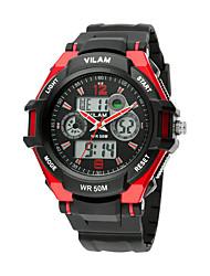Masculino Relógio Esportivo Quartz LCD / Cronômetro / Noctilucente / Resistente ao Choque Borracha Banda Casual Preta / Azul / Amarelo