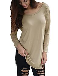 Tee-shirt Aux femmes,Mosaïque Décontracté / Quotidien Sexy Toutes les Saisons Manches Longues Col Arrondi Rouge / Beige / NoirCoton /