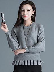 Damen Kurz Pullover-Lässig/Alltäglich Street Schick Solide Weiß Grau Rundhalsausschnitt Langarm Kaninchen-Pelz Herbst Mittel