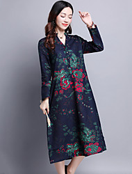 Women's Casual/Daily Ethnic Print Loose Dress,Print V Neck Midi Long Sleeve Blue / Red Cotton / Linen Spring / Fall