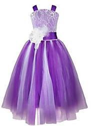 Ball Gown Tea-length Flower Girl Dress - Lace / Tulle Sleeveless Straps with Beading / Flower(s) / Sash / Ribbon