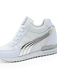 Da donna-Sneakers-Casual Sportivo-Comoda-Piatto-Tulle PU (Poliuretano)-Nero Bianco Grigio