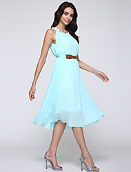 Women's Work Plus Size / Chiffon Dress,Solid Round Neck Mini Sleeveless Blue / Yellow Polyester Summer