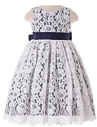 Ball Gown Tea-length Flower Girl Dress - Lace Sleeveless Jewel with Bow(s) / Lace / Sash / Ribbon