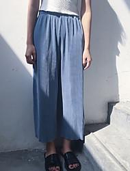 Pantalon Aux femmes Ample simple Coton Micro-élastique