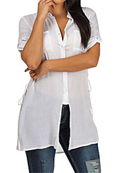 Women's White Button up Tunic Shirt with Lace up Sides