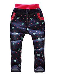 Girl's Cotton Spring/Autumn Fashion Style Cartoon Heart  Print Children Jeans