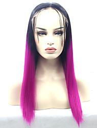 pelucas frente de la peluca del frente del cordón de encaje sin cola ombrepurple sintéticos para las mujeres vendedoras calientes