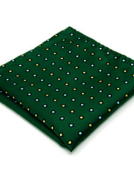 Mens Pocket Square Green Dots 100% Silk Handkerchieves Jacquard Woven Business Fashion