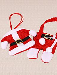1 Set Christmas Tableware Holder Santa Claus Clothing Pants Table Dinner Silverware Decoration Gift