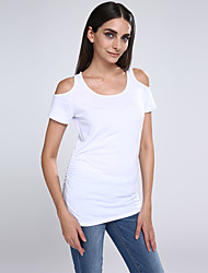 Women Casual Short Sleeve Cotton T Shirt Hollow Out Sleeve Blouse