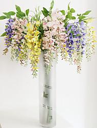 1pc 1 Филиал Полиэстер / Пластик Орхидеи Букеты на пол Искусственные Цветы 47.2inch/120CM