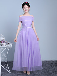 Ankle-length Tulle / Polyester Bridesmaid Dress A-line Off-the-shoulder with Bow(s) / Ruching