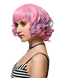 Pink short curly hair fashion wigs Synthetic Wigs