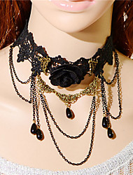 Fashion Gothic  Vintage Women Black Lace Flower Water Drop Tassel Pendant Necklace Jewelry