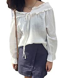 Damen Solide Einfach Lässig/Alltäglich T-shirt,Schulterfrei Sommer Langarm Blau / Weiß Baumwolle Mittel
