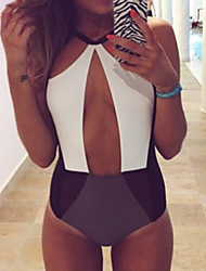 Women's Color Block Cut Out One Piece Monokini Swimsuit