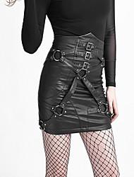 Q-270 Punk close-fitting Bandage high waist PU skirt