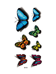 1pc Women Waterproof Temporary Tattoo Simulation Vivid Body Art Blue Fluorescent Butterfly 3D-23