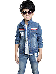 Boy's Cotton Spring/Autumn Fashion Patchwork Long Sleeve Denim Jacket Coat And Jeans Pants Two-piece Set
