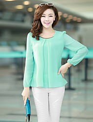 Women's Plus Size White/Black/Green Round Neck Blouse, Chiffon Long Sleeve