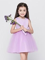 A-line Short / Mini Flower Girl Dress - Tulle Sleeveless Jewel with Bow(s)