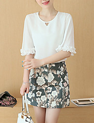Women's Going out Vintage / Simple / Cute Spring Blouse,Floral Round Neck ½ Length Sleeve Pink / White Rayon Thin
