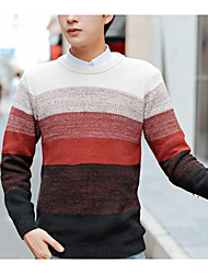 Men's Striped Casual Pullover,Wool Long Sleeve Blue / Green / Red