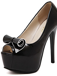 Women's Shoes Peep Toe Platform Bowknot Stiletto High Heels for Spring/Summer/Fall White and Black Colors Available