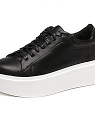 Women's Sneakers Fall Comfort PU Casual Platform Lace-up Black White Others