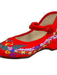Women's Shoes Canvas Spring / Summer / Fall Mary Jane / Comfort Flats Casual Flat Heel Buckle / Flower Black Walking