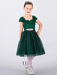 AMGAM A-line Knee-length Flower Girl Dress - Tulle Straps with Crystal Detailing