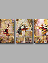 "Stretched (Ready to hang) Hand-Painted Oil Painting 60""x28"" Canvas Wall Art Modern Abstract Dance Girls Figure"
