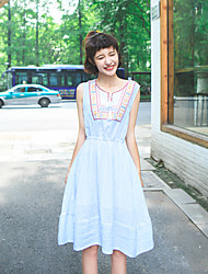 Women's Going out Vintage A Line Dress,Patchwork Asymmetrical Knee-length Sleeveless Blue / Purple Polyester Summer