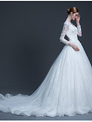 Ball Gown Wedding Dress Beautiful Back Court Train Scoop Tulle with Appliques Beading
