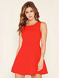 Gaine Robe Femme Sortie simple,Couleur Pleine Col Arrondi Mini Sans Manches Rouge Polyester Eté Taille Normale Micro-élastique