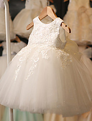 Performance Dresses Children's Performance Polyester Appliques / Lace 1 Piece White Performance Sleeveless High Dress