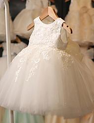 Fantasias Vestidos Crianças Actuação Poliéster Apliques / Renda 1 Peça Branco Espetáculo Sem Mangas Alto Vestidos