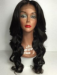 African American Black Women Long Body Wave Natural Black Women Lace Front Wig Heat Resistant Synthetic Wigs