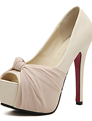 Women's Shoes Ruched Bowknot High Heels Peep Toe Platform Stiletto Heels with Black and Almond Colors