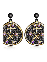 Circle Disc Plus pattern Lady Drop Ball Top earrings Black Gold Plated Amethyst Bezel setting Top grade CZ