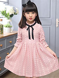 Girl's Casual/Daily Solid Dress,Cotton Spring / Fall Blue / Pink